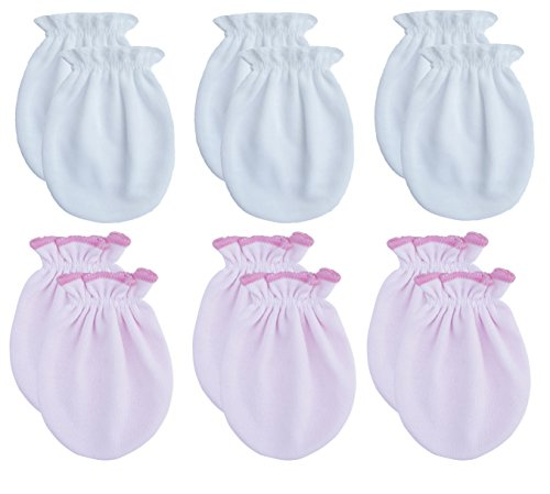- RATIVE Newborn Baby Cotton Gloves No Scratch Mittens For 0-6 Months Boys Girls (Newborn 0-6 Months, 3white+3pink)
