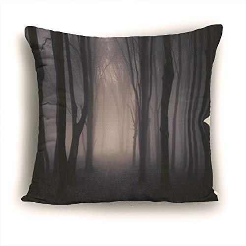 Throw Pillow Covers,Decorative Pillowcases Polyester 11.81 x 11.81 Inch Square Pillowcase Hidden Zipper,Farm House Decor,Path Through Dark Deep in Forest with Fog Halloween Creepy Twisted Branches -