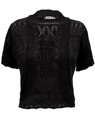 Generation-Fashion-Bolro-gilet-court-pour-femmes-tricot-crochet-ML-4042-Noir
