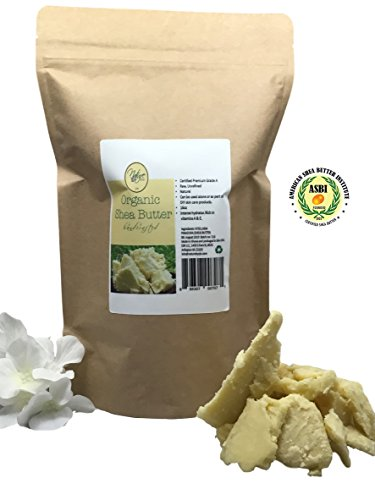 Certified Organic Shea Butter (Nature by EJN Organic Shea Butter Certified Premium Grade A, Raw, Unrefined (Unscented, 1lb))