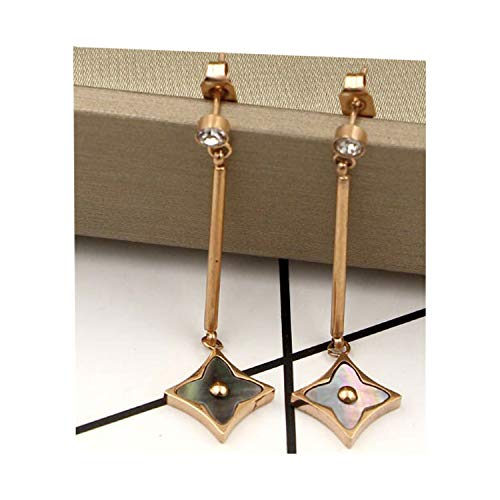 - Women's Fashion Earrings Korean Style Three Icon Drop Earrings Stainless Steel Rose Gold (chain black)