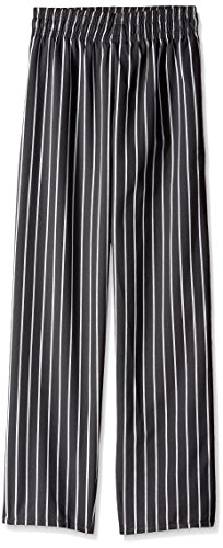 Uncommon Threads Unisex Classic Baggy Chef Pant with 3 Inch Elastic Waist, Center Stripe, X-Large