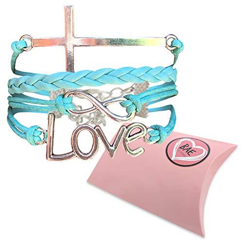 BAE Icons Infinity LOVE & CROSS Jesus bracelet, Christian religion bracelet. Women and Girls Christian Gift, Christian Youth,teacher appreciation gift. Love Bracelet gifts for girlfriends.Gift Box Lg