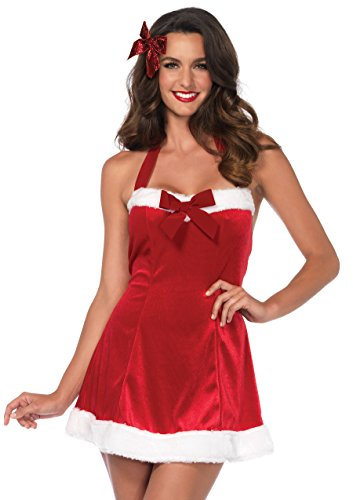 Leg Avenue Women's Santa's Helper Sexy Mrs. Claus Christmas Costume, Red/White, Sml/Med -