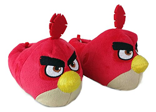 Angry Birds Boys Thick Plush Indoor Slippers Red (9-10)