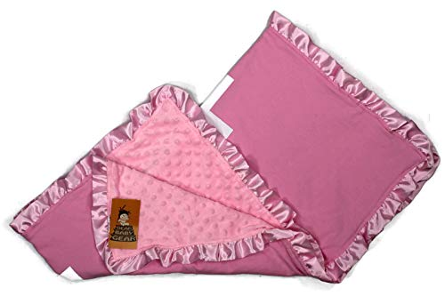 (Dear Baby Gear Baby Blankets, Powderpuff Sports Football on Pink, Pink Minky, 32 inches by 32 inches)