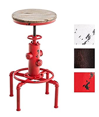 TOPOWER Vintage Antique Industrial Solid Wood fire hydrant Design Cafe Industrial Bar Stool height adjustable (RED)