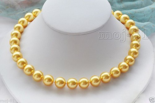 10mm Genuine Yellow South Sea Shell Pearl Round Beads Necklace 18