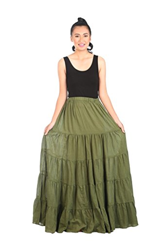 Lannaclothesdesign Women's Cotton Long Ruffle Full Circle Long Skirts Maxi Skirt (Lenght 37 inches, Green)