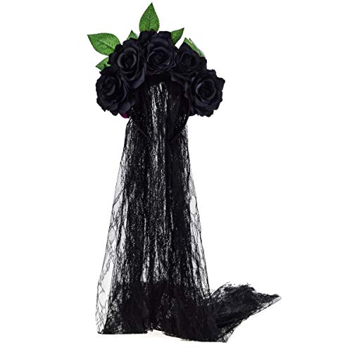 - June Bloomy Day of the Dead Headpiece Rose Floral Crown Veil Halloween Costume Mexican Headband (Black)