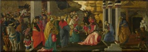 Oil Painting 'Sandro Botticelli And Filippino Lippi-Adoration Of The Kings,1470' Printing On High Quality Polyster Canvas , 8x23 Inch / 20x58 Cm ,the Best Foyer Artwork And Home Decor And Gifts Is This Amazing Art Decorative Canvas Prints - Wheels Begin To Turn Hall