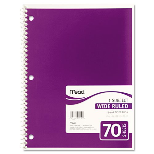 043100055105 - Mead Spiral 1-Subject Wide-Ruled Notebook, 1 Notebook, Color May Vary, Assorted Colors  (05510) carousel main 4