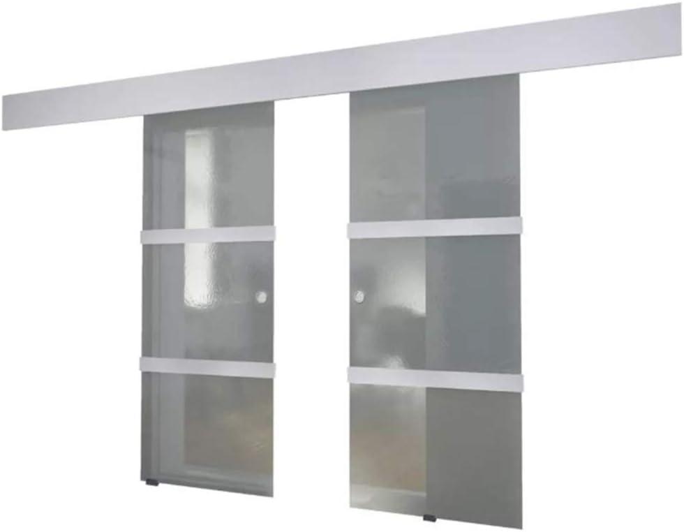 Puerta corredera de cristal y aluminio, puerta corredera de cristal con riel silencioso para entrada de entrada, color plateado: Amazon.es: Bricolaje y herramientas