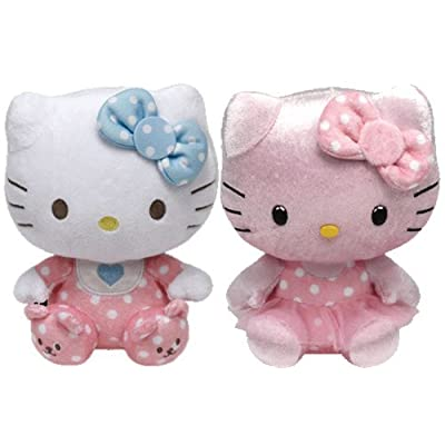 Ty Beanie Babies Hello Kitty - Pink Baby with Rattle and Pink Shimmer Set of 2 Plush Toys: Toys & Games