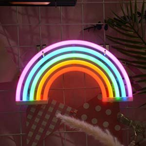 Ninight Rainbow Good Luck Neon Light, Cute Colored Night Light,Battery Or USB Powered Neon Sign as Wall Decor for Kids Room, Living Room, Festive Party by Nnight (Image #4)