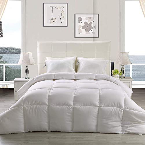 Utopia Bedding Lightweight Comforter, Ultra Soft Down Alternative - All Season Comforter - Plush Siliconized Fiberfill Duvet Insert - Box Stitched (Queen, White)