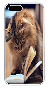 Brian For Iphone 5C Phone Case Cover - Fashion Style Cat Reading White PC Hard For Iphone 5C Phone Case Cover Kimberly Kurzendoerfer