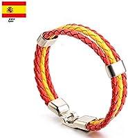Newin Star Pulseras,Brazalete de cuero,Pulseras Bandera de Nacional,Pulseras Cuero para hombre y mujer fanático en partido de fútbol(España)