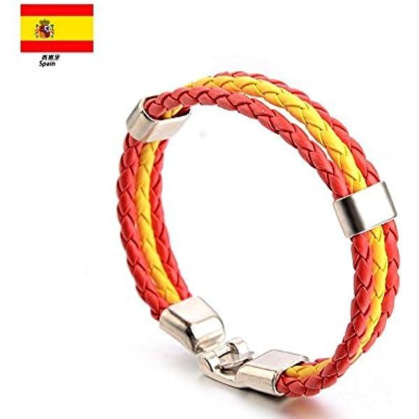 Newin Star - Pulseras,Brazalete de Cuero,Pulseras Bandera de Nacional, Pulseras Cuero para Hombre y Mujer el Día Nacinal España (España): Amazon.es: Juguetes y juegos