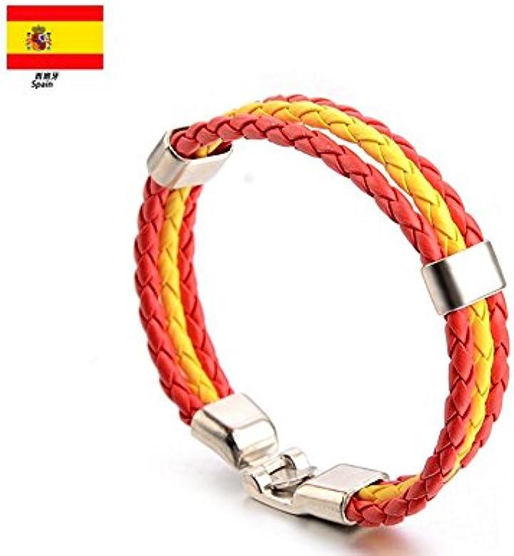 Newin Star elegante pulsera, trenzado pulsera de piel para campeonato Mundial de Fútbol, de fans Cordón Pulsera Países Style (España): Amazon.es: Joyería