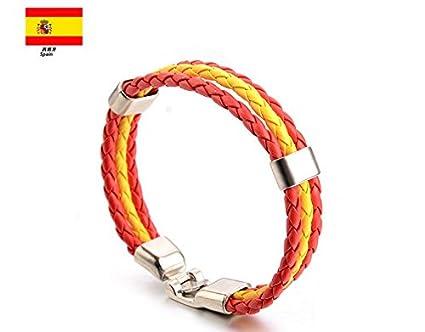 c2dcd76fd50d Newin Star - Pulseras,Brazalete de Cuero,Pulseras Bandera de  Nacional,Pulseras Cuero para Hombre y Mujer el Día Nacinal España (España)