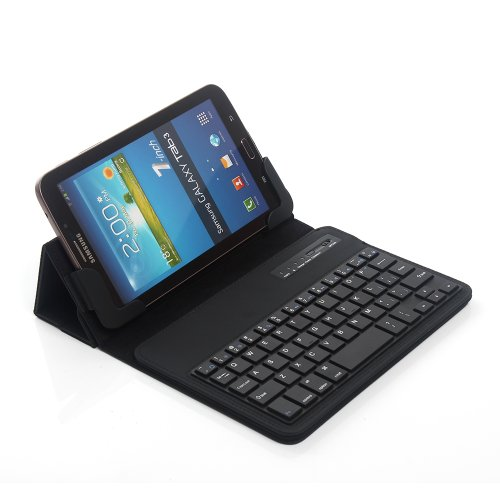 """TPCROMEER Universal 7"""" 7.0 7 Inch Tablet Folding Leather Case Cover with Removable Detachable Wireless Bluetooth Keyboard for Samsung Galaxy Tab 2 / Tab 3 7 Inch, Google Nexus 7.0 / 7.0 HD, iPad Mini and Other 7-Inch Android Tablets - Black"""