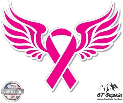 Amazon Com Breast Cancer Ribbon Wings 3 Vinyl Sticker For Car