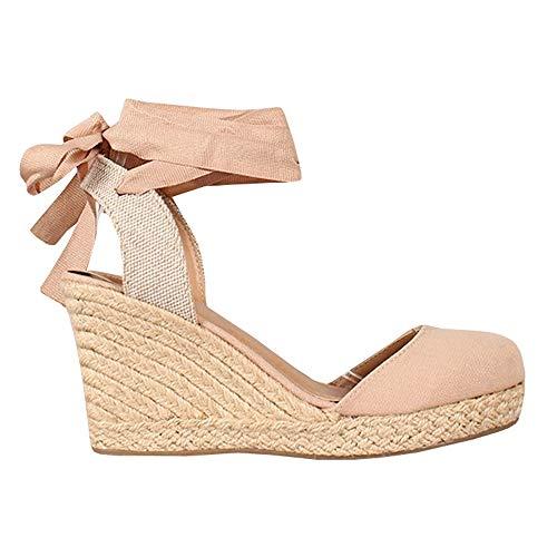 Womens Lace Up Slingback Espadrille Platform Wedges Closed Toe Color Block Ankle Wrap Sandals - Wrap Sandal Toe Ankle