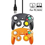 Mekela 5.8 feet Classic USB wired NGC Controller Gamepad resembles gamecube for Windows PC MAC (USB Black and Orange)