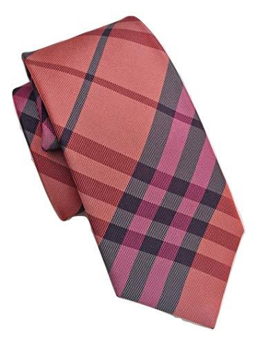 - New Authentic Burberry London Red/Orange/Multi Check Skinny Silk Tie