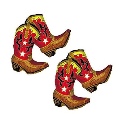 """36"""" Giant Dancing Cowboy Boots Foil Balloon - Qty 2: Toys & Games"""