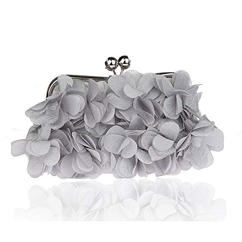 Bag Lovely Evening Handbags Lady Banquet Gray Evening Rabbit Silk Flower Women Clutches Cosmetic FqFxIrPwC