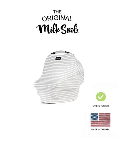 AS SEEN ON Shark Tank The Original Milk Snob Infant Car Seat Cover and Nursing Cover Multi-Use 360° Coverage Breathable StretchyHeather Stripe