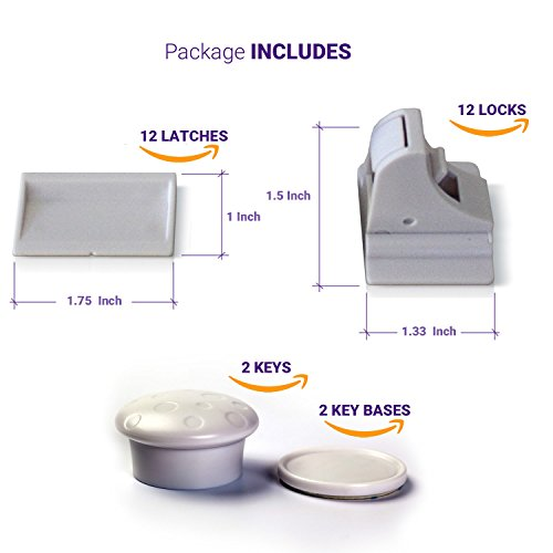 Magnetic Baby Safety Locks for Cabinets & Drawers - Baby Proof & Easy Install - No Screws or Drilling - 12+2 Set by Purple Safety (Image #2)