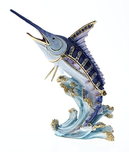 Marlin Fish Trinket Box, Hand Set Clear Swarovski Crystal, Hand Painted Blue Enamel Over Solid Pewter Base, Inside Of Box with Lovely Enamel, Comes in Beautiful Gift Box, L 3.50 x H 3.75 x W 1.50 (Enamel Pewter)