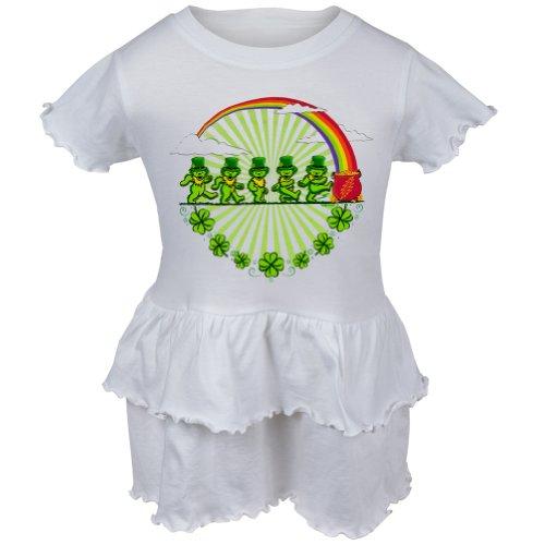 Grateful Dead - Leprechaun Bears White Infant Ruffle Dress - 12 month White