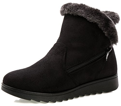 er Warm Side Zipper Warm Snow Boots Black US Size 8 ()