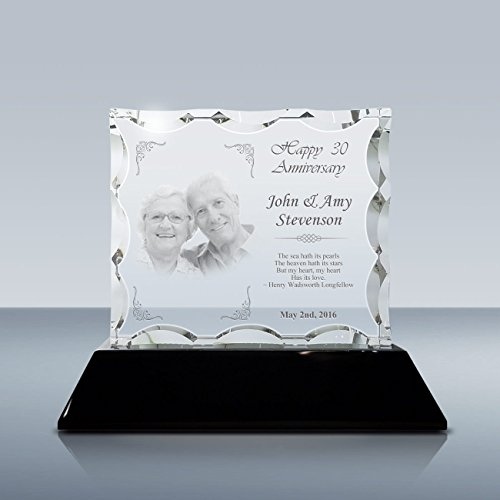 Goodcount.com 3D Etched Scalloped Photo Crystal Gift Set, Custom Laser Engraving Crystal, Picture in Glass, Etched 3D Photo Crystal Gift Set with 6