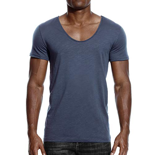 Mens Deep V Neck T Shirts Scoop Neck Slim Fit Basic Tee Casual Top Navy XXXL