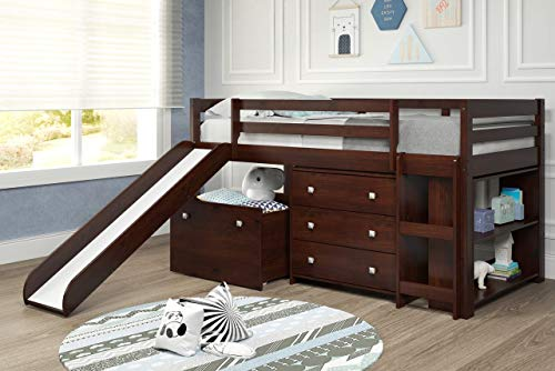 Woodcrest ML385 Complete Set Mini loft Bed, Slide, Chest, Toy Box, Book Shelf, Single, Capuccino