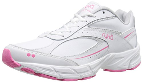 Ryka Women's Comfort Walk Leather-w, White/Chrome Silver/Hot Pink, 8 M US