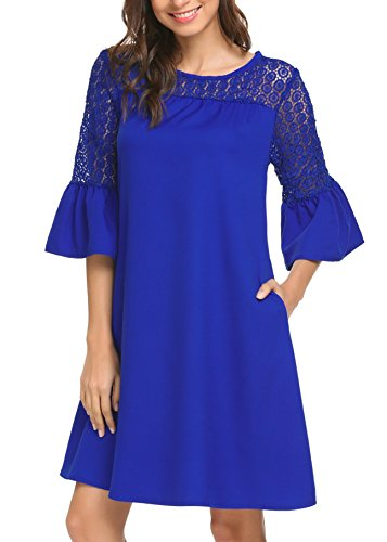 Women's Bell Sleeve Red Shift Tunic Cocktail Party Dresses with Tulip Sleeve Blue ()