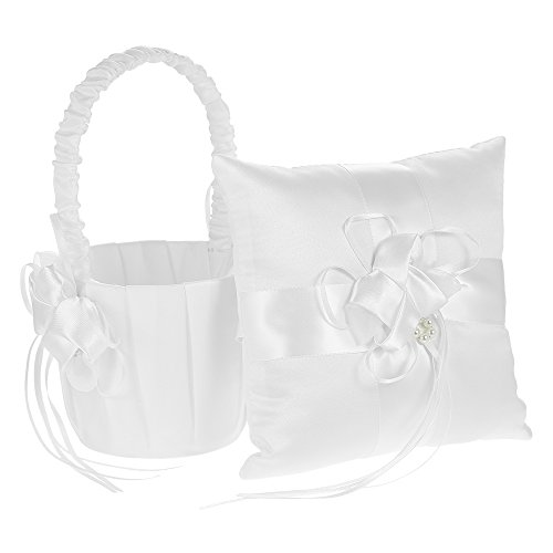 (Decdeal Ivory Satin Bowknot Ring Bearer Pillow and Wedding Flower Girl Basket Set, 7 x 7 inches, White (Flower))