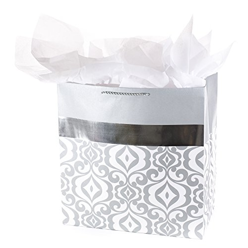 Hallmark Extra Large Gift Bag with Tissue Paper (Silver ()