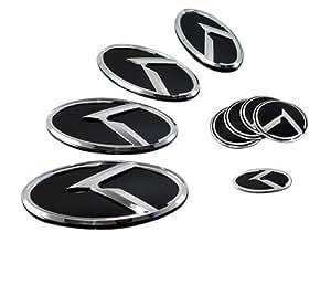 LIGHTKOREA K Logo 3D Emblem Hood, Rear, Horn, Wheel Caps 7pc Set For KIA Optima 2011-2013 K5