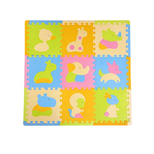 9 piezas de colchonetas de espuma impermeable para niños Puzzle de esterilla para bebé tapete de juego, Animal 3