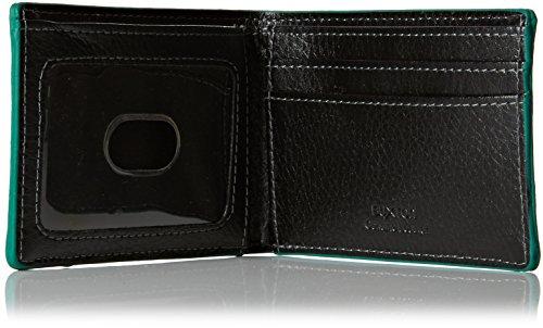 Buxton Herren Tasche vorne, schlankes Design, aus Leder, mit RFID Geldbörse Schwarz - Black w/ Green Edging