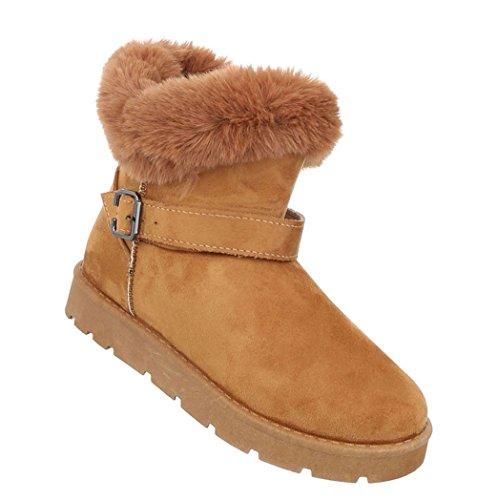 Damen Schuhe Stiefeletten Warm Gefütterte Boots Camel