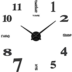 Aililife 3D DIY Wall Clock Decor Sticker Mirror Frameless Large DIY Wall Clock Kit for Home Living Room Bedroom Office Decoration (Black)