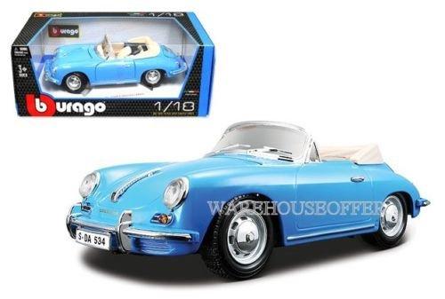 NEW 1:18 BBURAGO COLLECTION - BLUE 1961 PORSCHE 356B CABRIOLET Diecast Model Car By Bburago ()